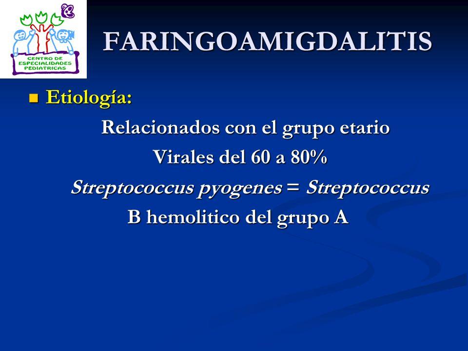 FARINGOAMIGDALITIS Etiología: Relacionados con el grupo etario