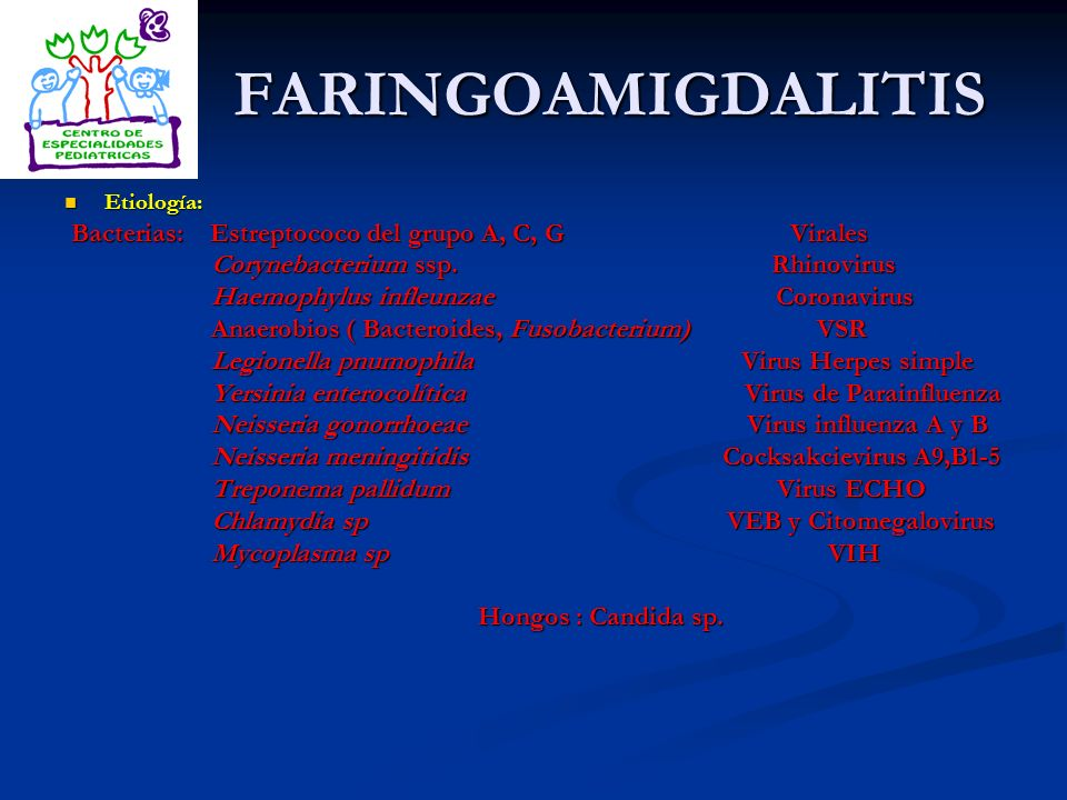 FARINGOAMIGDALITIS Bacterias: Estreptococo del grupo A, C, G Virales