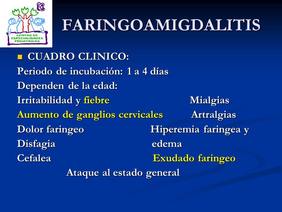 FARINGOAMIGDALITIS CUADRO CLINICO: Periodo de incubación: 1 a 4 días