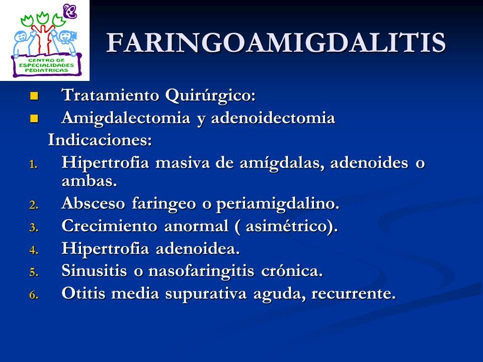 FARINGOAMIGDALITIS Tratamiento Quirúrgico: