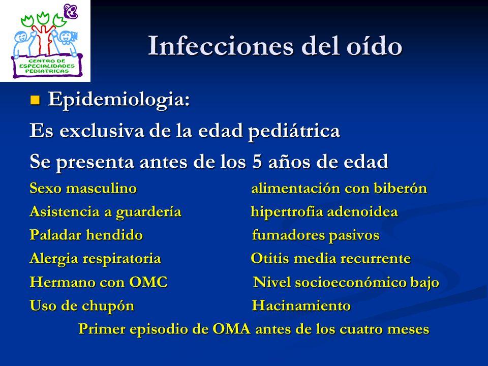 Infecciones del oído Epidemiologia: Es exclusiva de la edad pediátrica