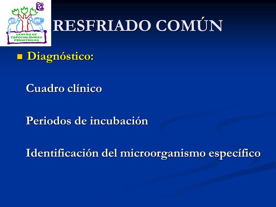 RESFRIADO COMÚN Diagnóstico: Cuadro clínico Periodos de incubación