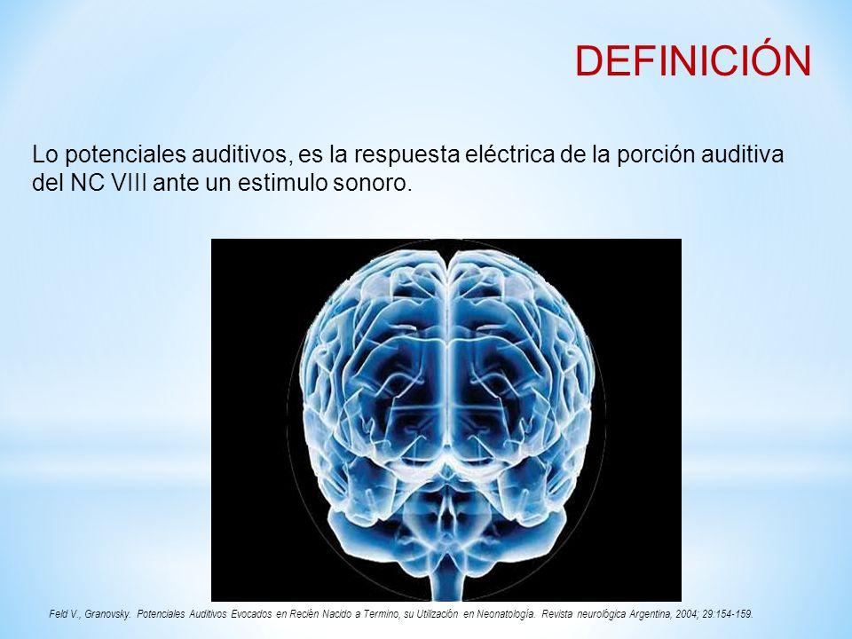DEFINICIÓNLo potenciales auditivos, es la respuesta eléctrica de la porción auditiva del NC VIII ante un estimulo sonoro.