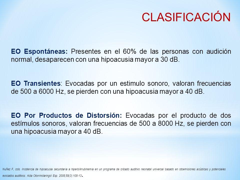 CLASIFICACIÓN EO Espontáneas: Presentes en el 60% de las personas con audición normal, desaparecen con una hipoacusia mayor a 30 dB.