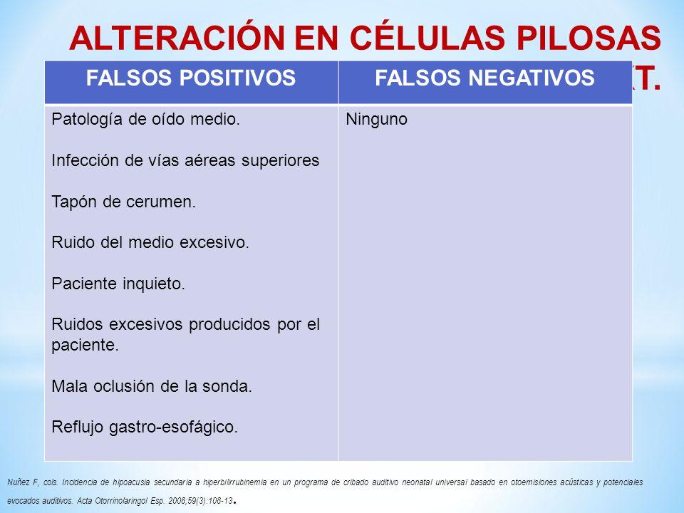 ALTERACIÓN EN CÉLULAS PILOSAS EXT.