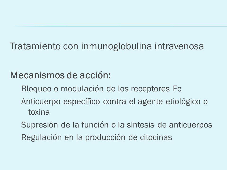 Tratamiento con inmunoglobulina intravenosa Mecanismos de acción: