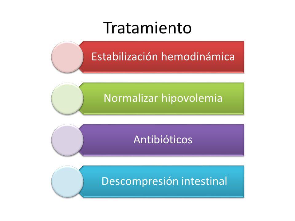 Tratamiento Estabilización hemodinámica. Normalizar hipovolemia. Antibióticos. Descompresión intestinal.