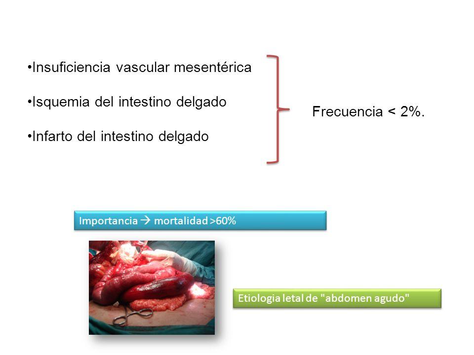Insuficiencia vascular mesentérica Isquemia del intestino delgado