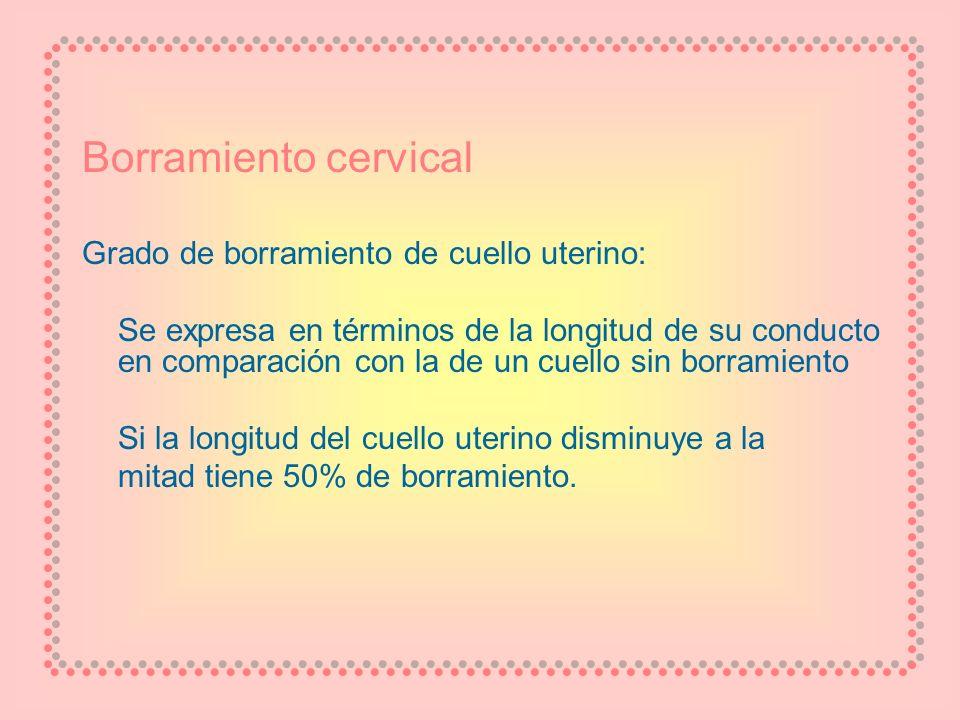 Borramiento cervical Grado de borramiento de cuello uterino: