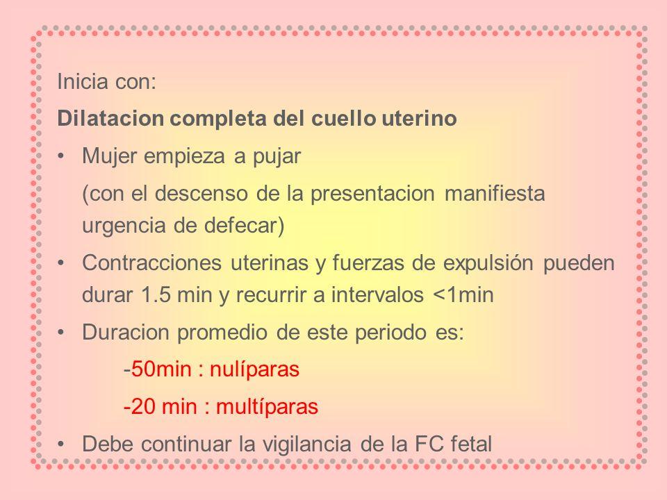 Inicia con: Dilatacion completa del cuello uterino. Mujer empieza a pujar. (con el descenso de la presentacion manifiesta urgencia de defecar)