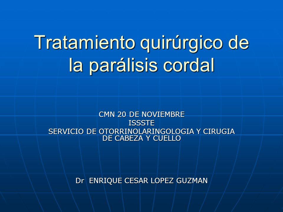 Tratamiento quirúrgico de la parálisis cordal