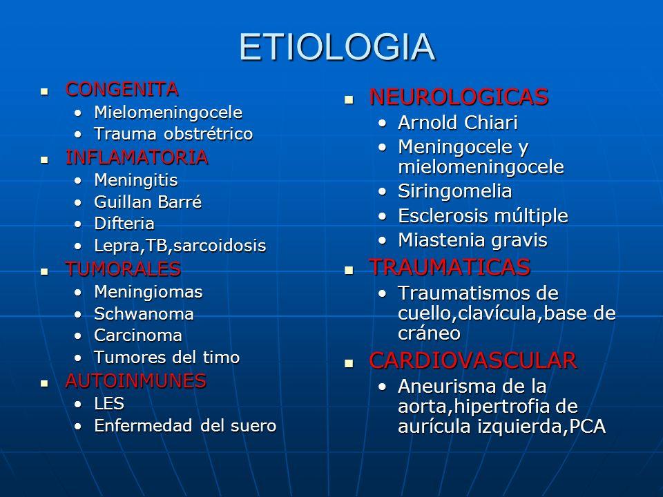 ETIOLOGIA NEUROLOGICAS TRAUMATICAS CARDIOVASCULAR CONGENITA