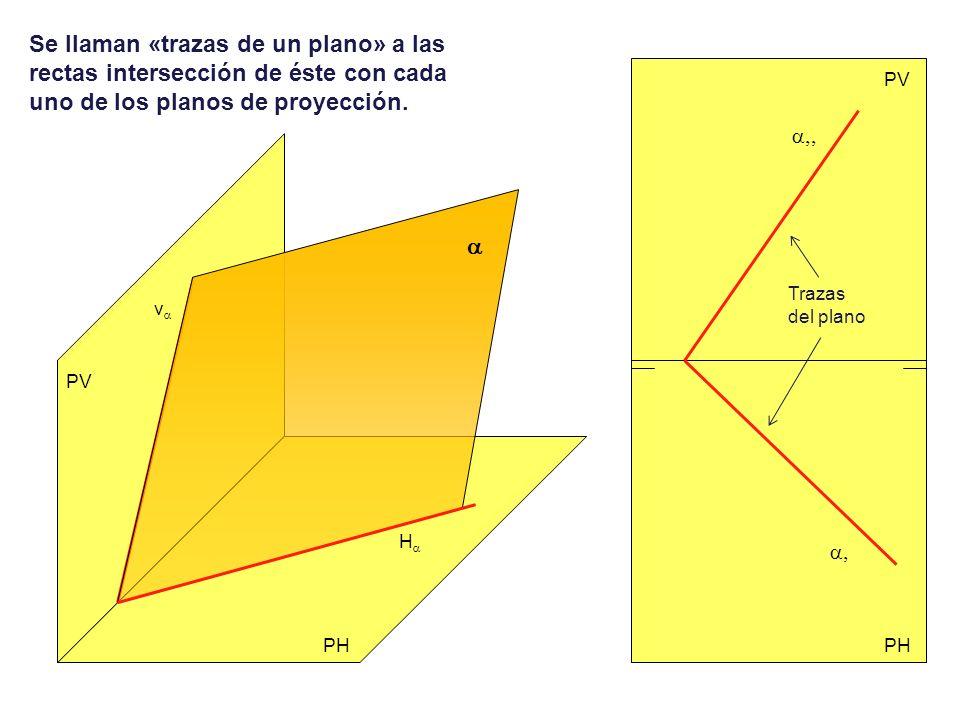 Se llaman «trazas de un plano» a las rectas intersección de éste con cada uno de los planos de proyección.