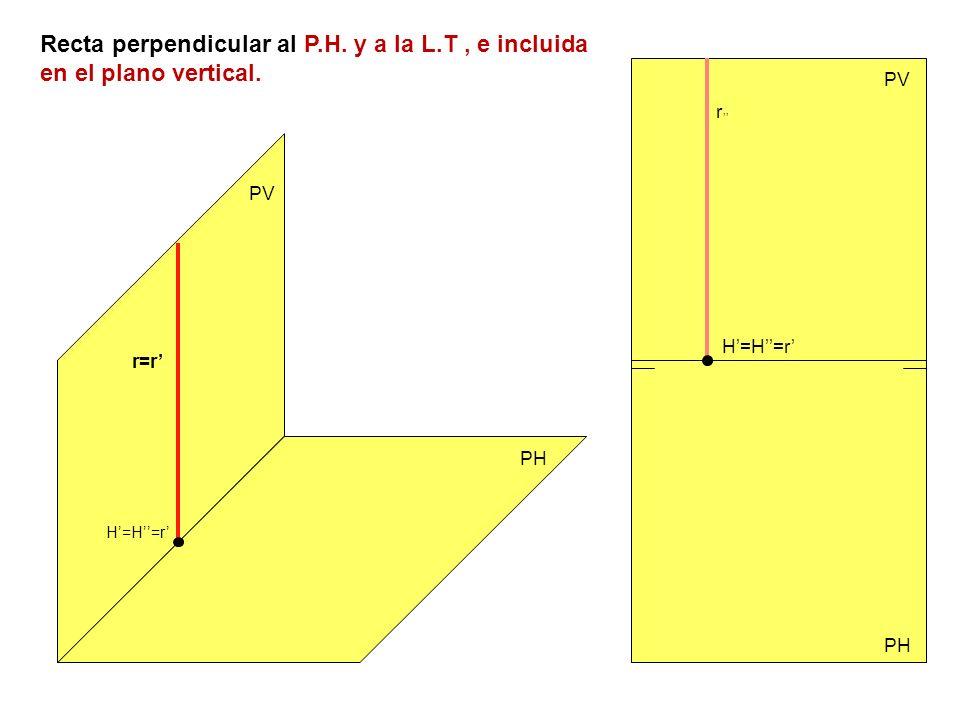 Recta perpendicular al P. H. y a la L