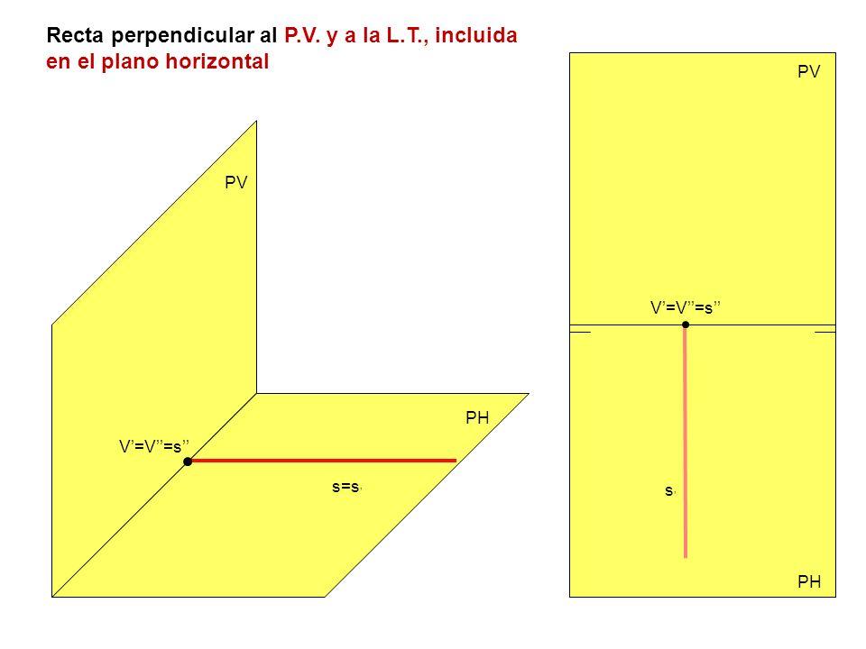 Recta perpendicular al P. V. y a la L. T