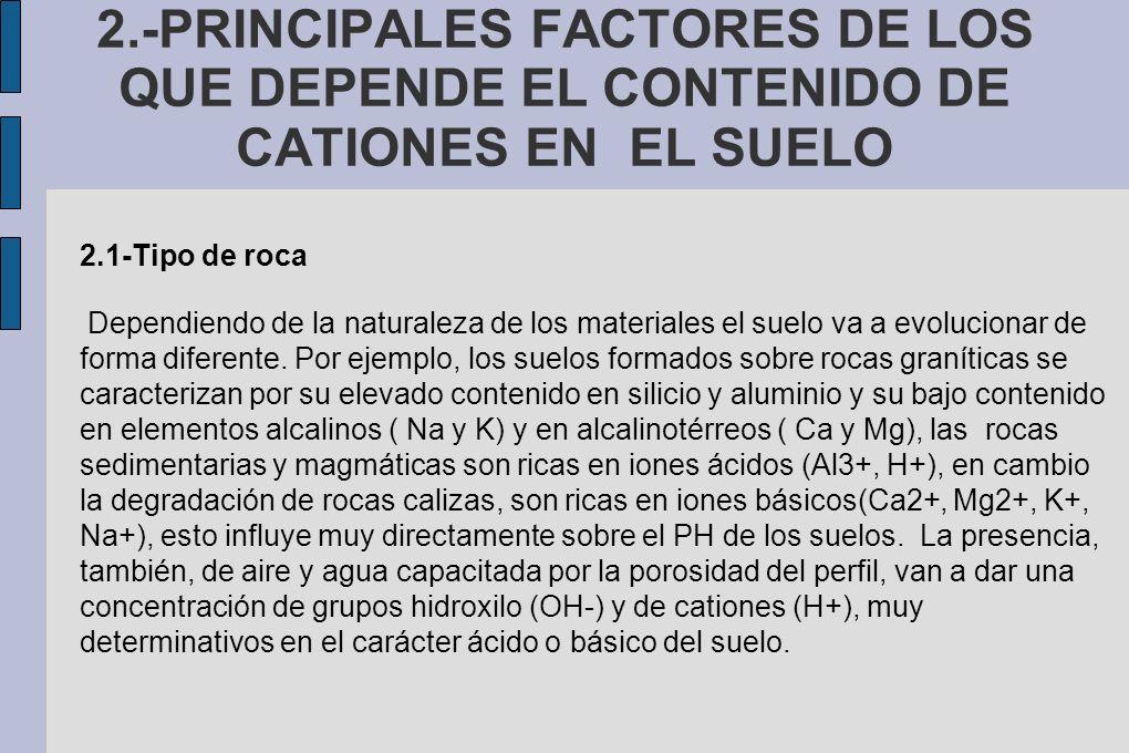 2.-PRINCIPALES FACTORES DE LOS QUE DEPENDE EL CONTENIDO DE CATIONES EN EL SUELO
