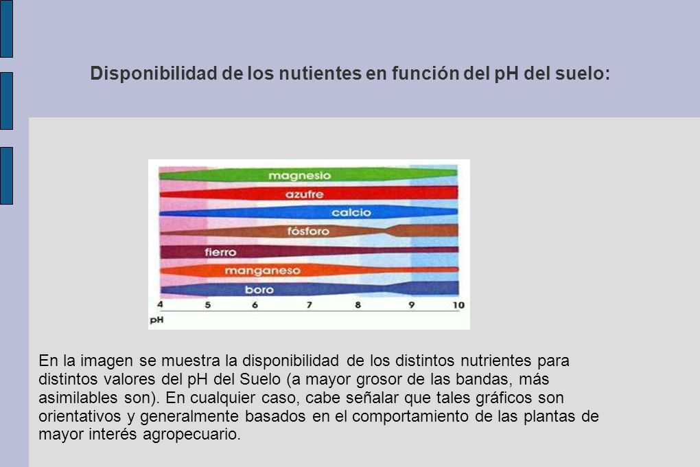 Disponibilidad de los nutientes en función del pH del suelo: