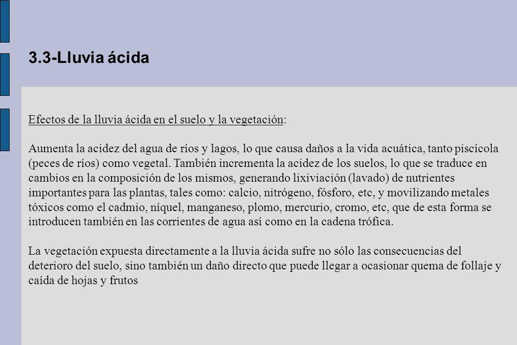 3.3-Lluvia ácida Efectos de la lluvia ácida en el suelo y la vegetación: