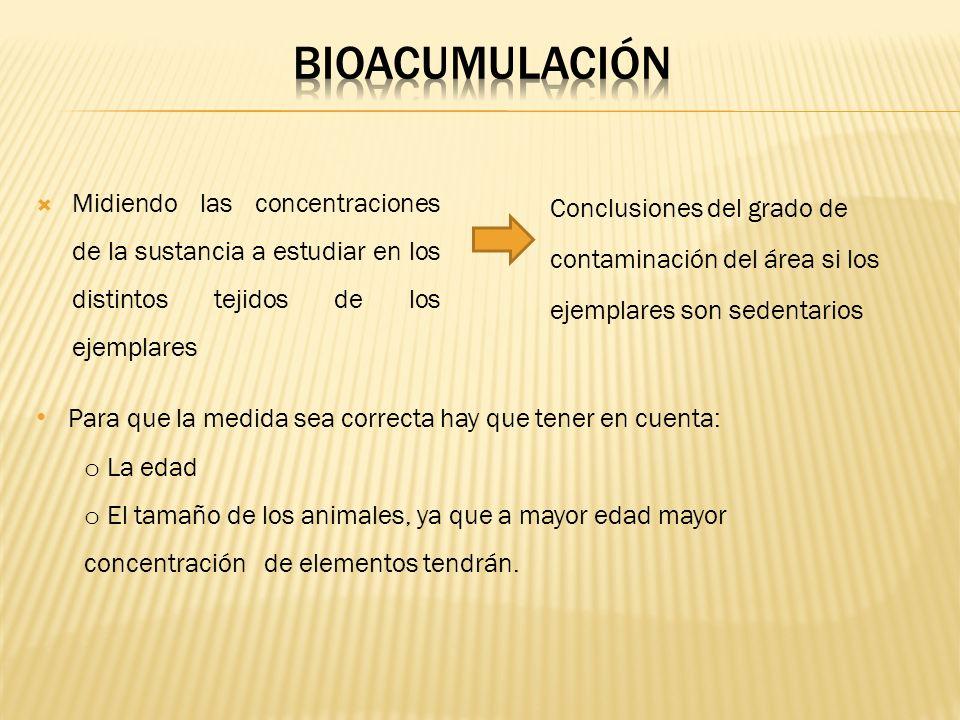 BIOACUMULACIÓNMidiendo las concentraciones de la sustancia a estudiar en los distintos tejidos de los ejemplares.