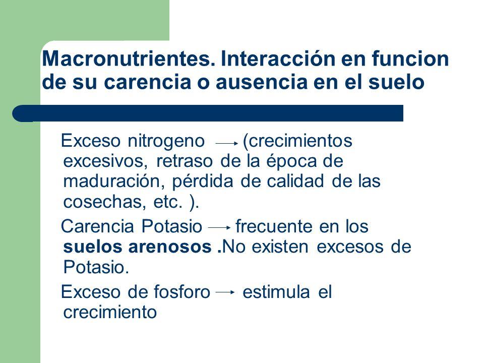 Macronutrientes. Interacción en funcion de su carencia o ausencia en el suelo
