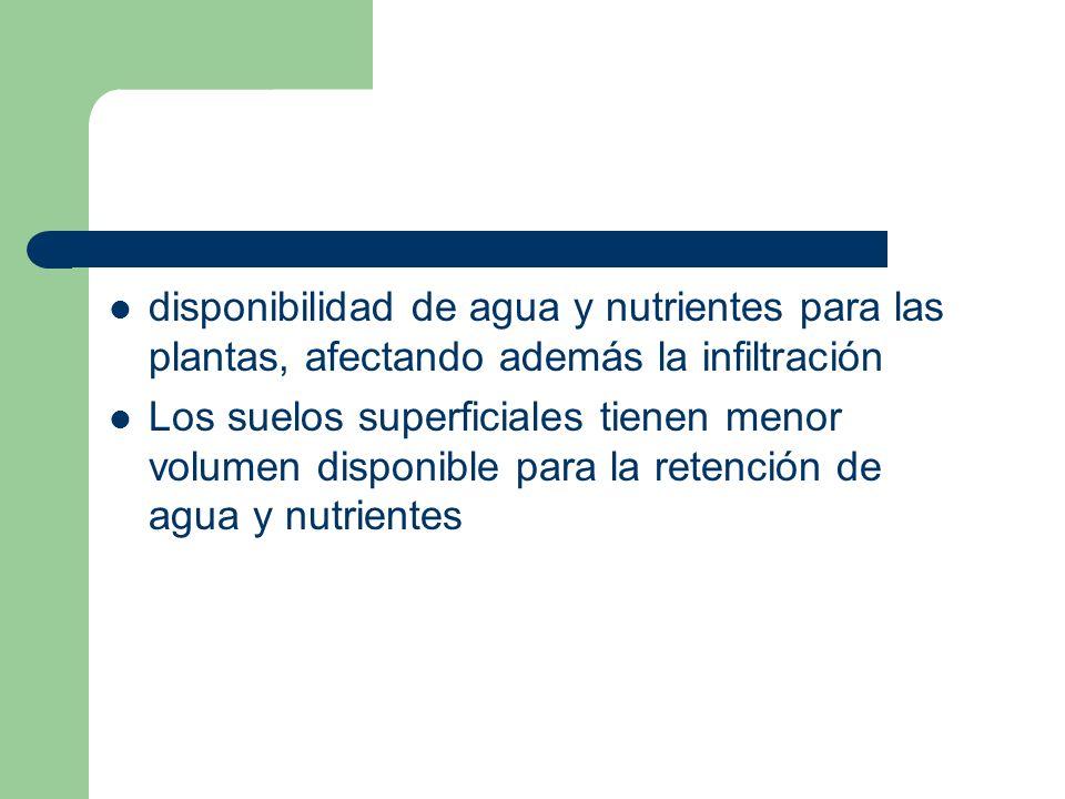 disponibilidad de agua y nutrientes para las plantas, afectando además la infiltración
