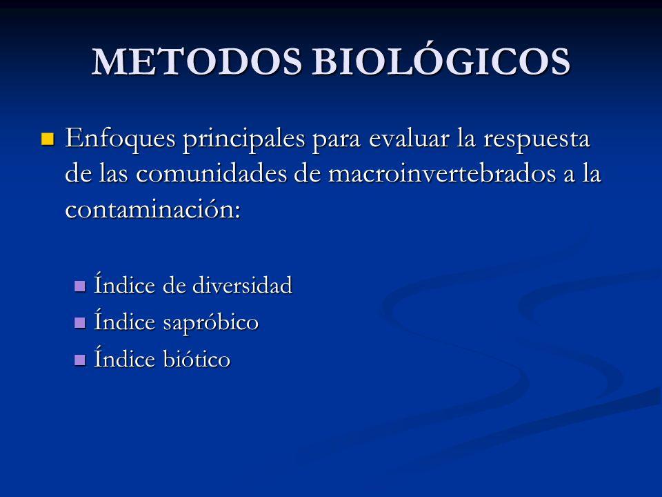 METODOS BIOLÓGICOS Enfoques principales para evaluar la respuesta de las comunidades de macroinvertebrados a la contaminación: