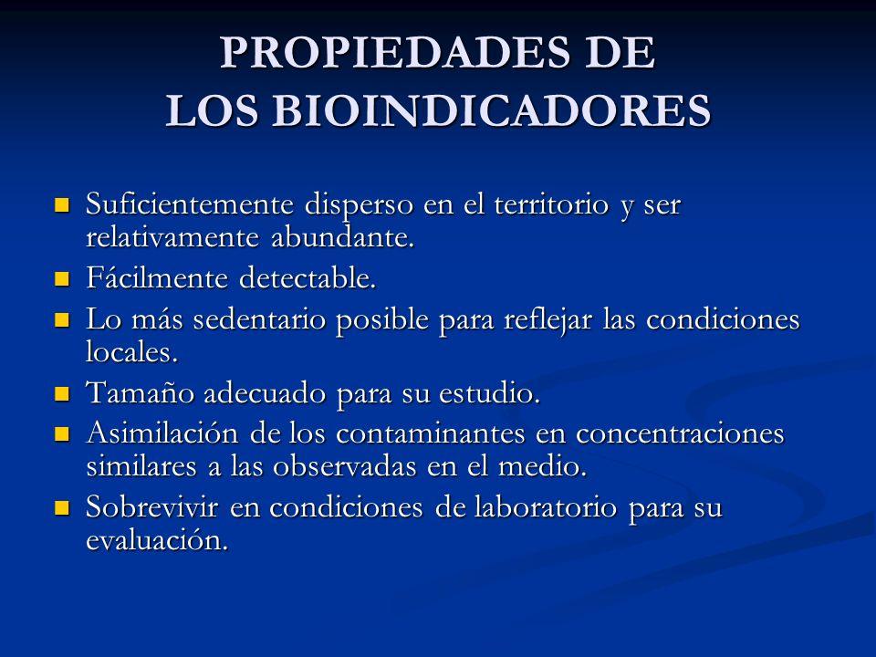 PROPIEDADES DE LOS BIOINDICADORES