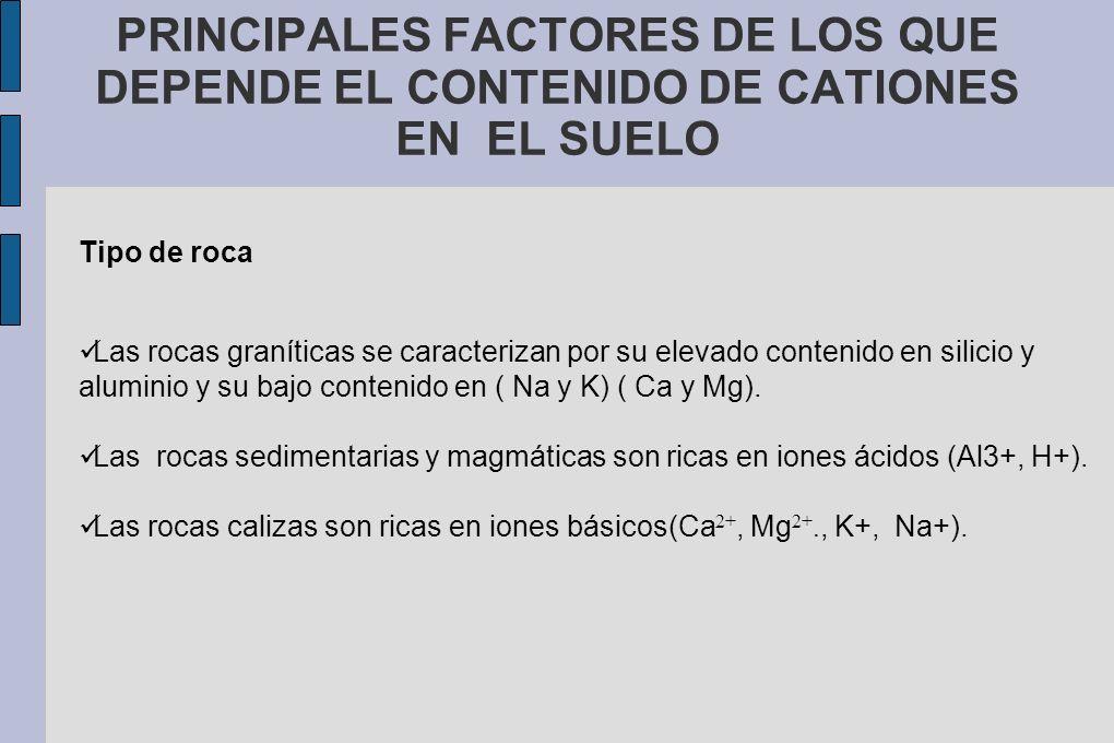 PRINCIPALES FACTORES DE LOS QUE DEPENDE EL CONTENIDO DE CATIONES EN EL SUELO