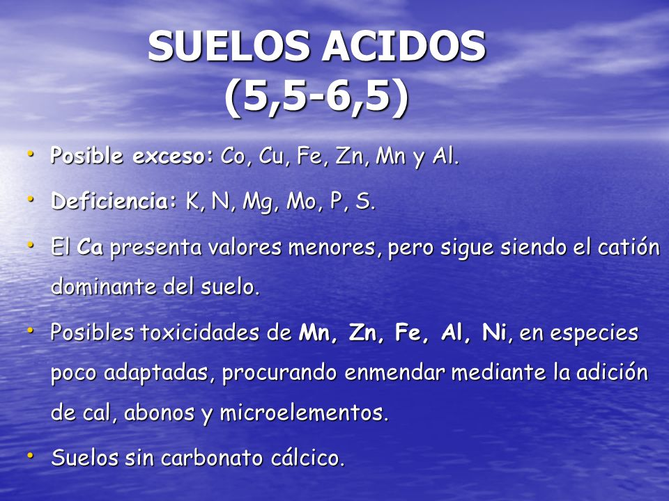 SUELOS ACIDOS (5,5-6,5) Posible exceso: Co, Cu, Fe, Zn, Mn y Al.