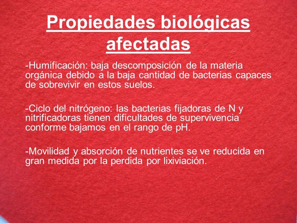 Propiedades biológicas afectadas