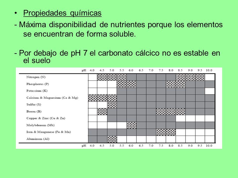 Propiedades químicas- Máxima disponibilidad de nutrientes porque los elementos se encuentran de forma soluble.