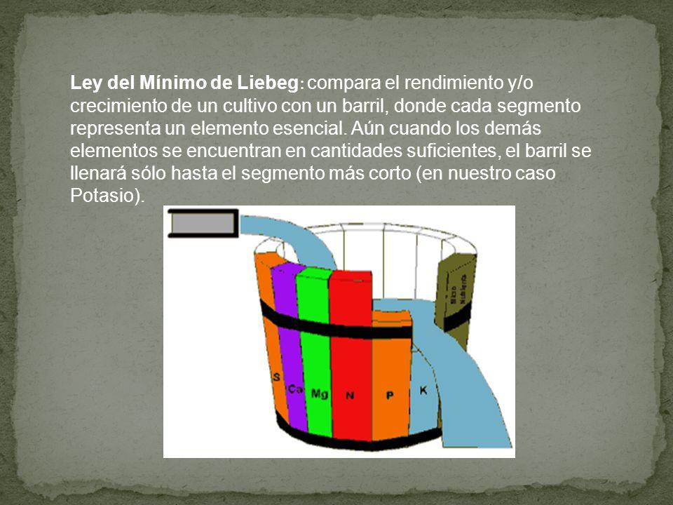 Ley del Mínimo de Liebeg: compara el rendimiento y/o crecimiento de un cultivo con un barril, donde cada segmento representa un elemento esencial.