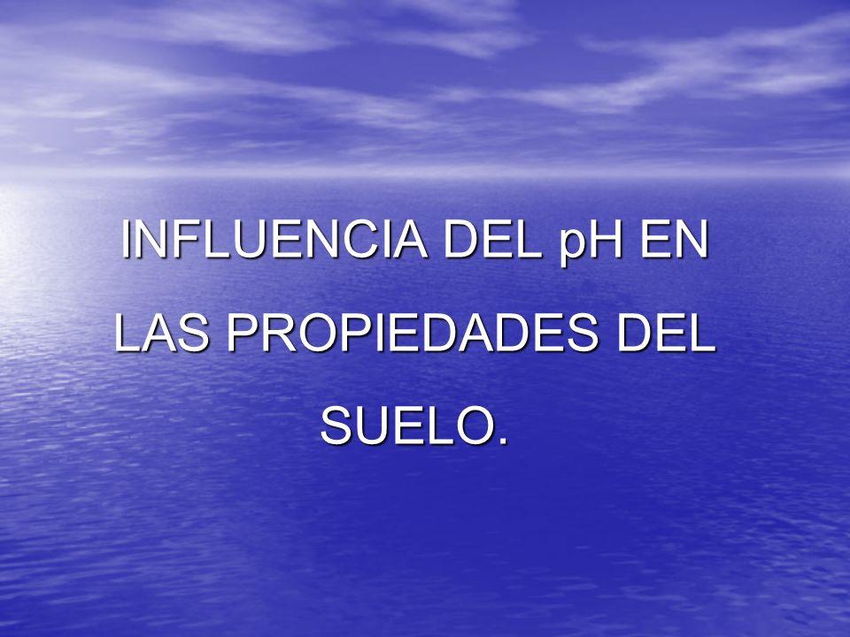 INFLUENCIA DEL pH EN LAS PROPIEDADES DEL SUELO.