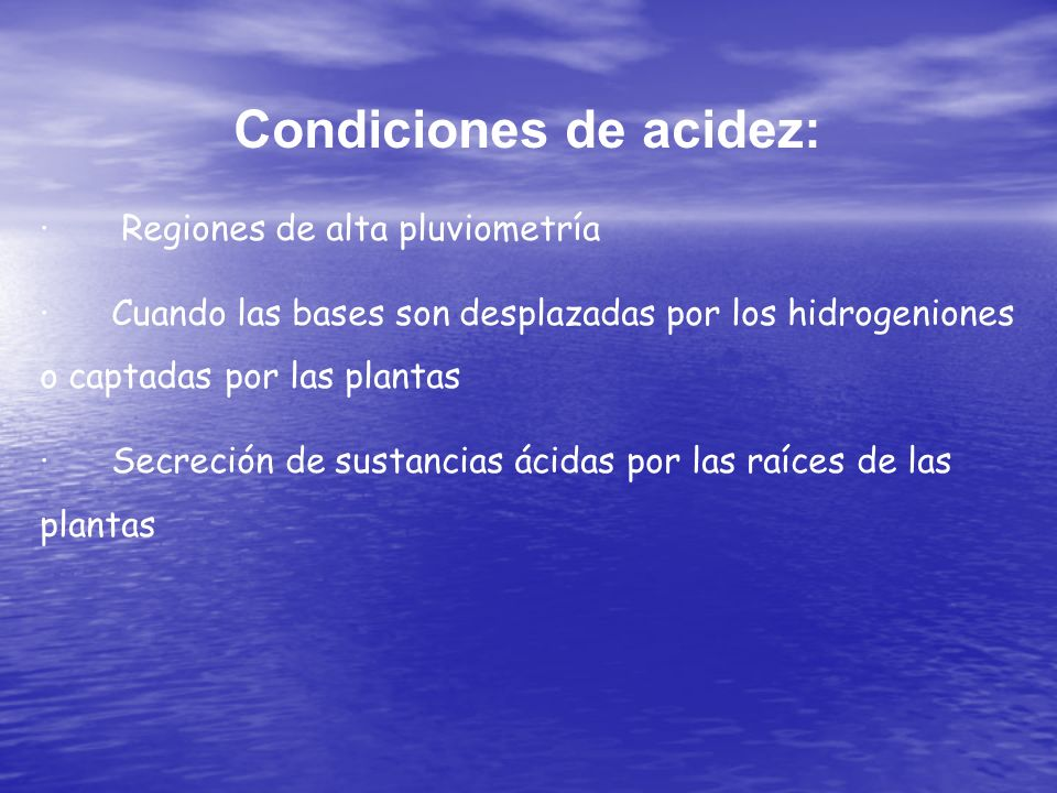 Condiciones de acidez: