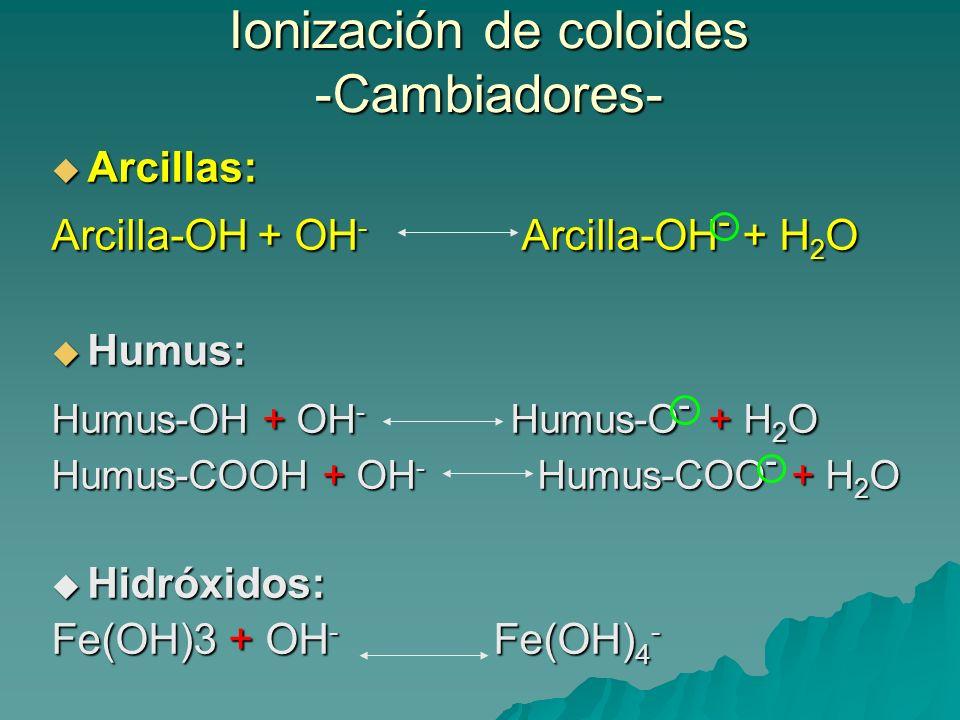 Ionización de coloides -Cambiadores-