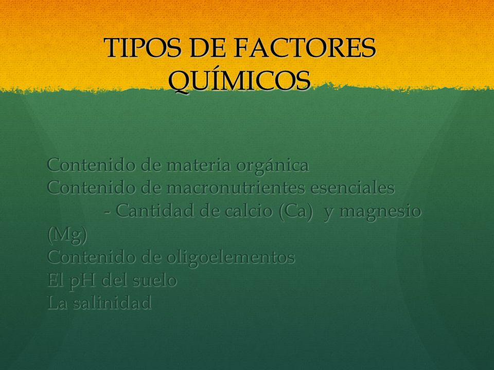 TIPOS DE FACTORES QUÍMICOS