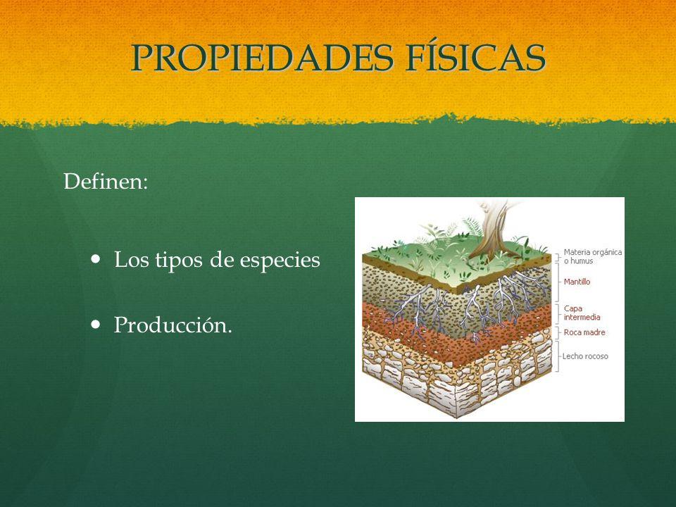PROPIEDADES FÍSICAS Definen: Los tipos de especies Producción.