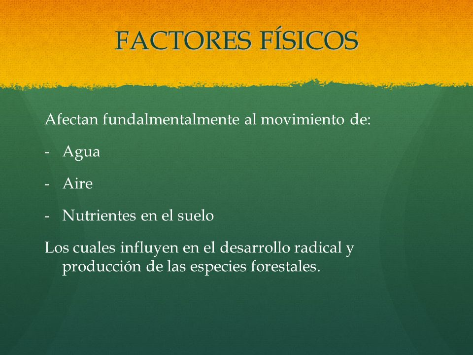 FACTORES FÍSICOS Afectan fundalmentalmente al movimiento de: Agua Aire