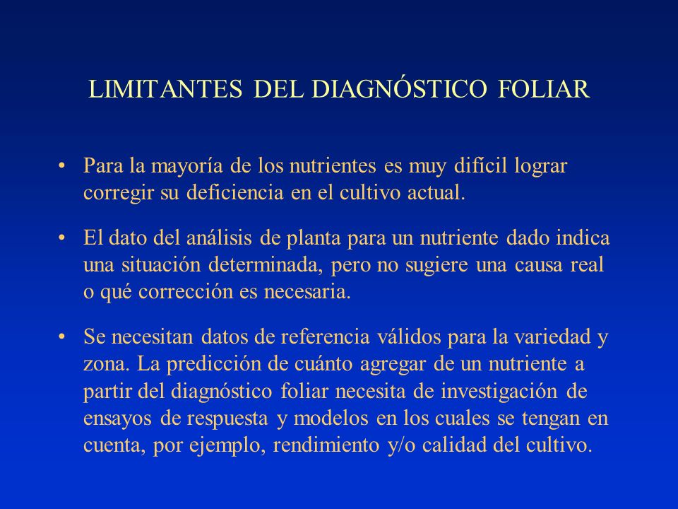 LIMITANTES DEL DIAGNÓSTICO FOLIAR