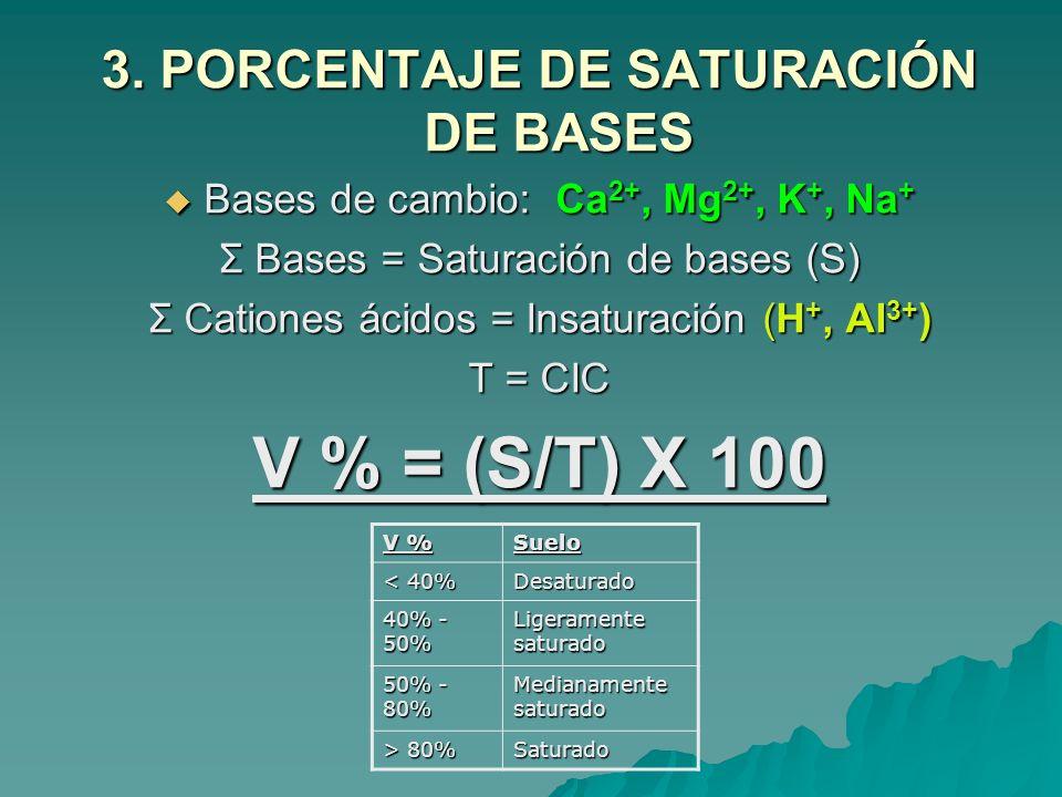 3. PORCENTAJE DE SATURACIÓN DE BASES