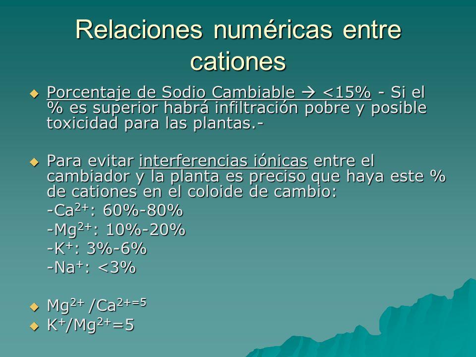 Relaciones numéricas entre cationes