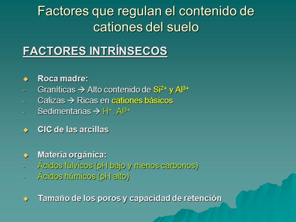 Factores que regulan el contenido de cationes del suelo