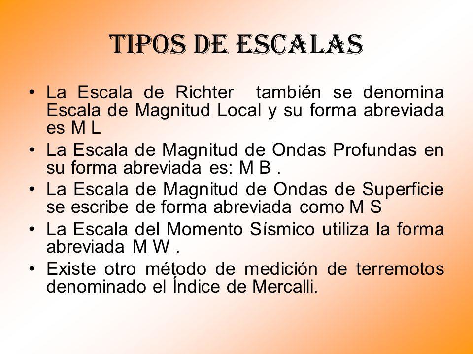 Tipos de escalas La Escala de Richter también se denomina Escala de Magnitud Local y su forma abreviada es M L.