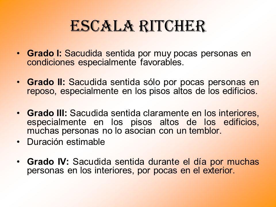 Escala RITCHER Grado I: Sacudida sentida por muy pocas personas en condiciones especialmente favorables.