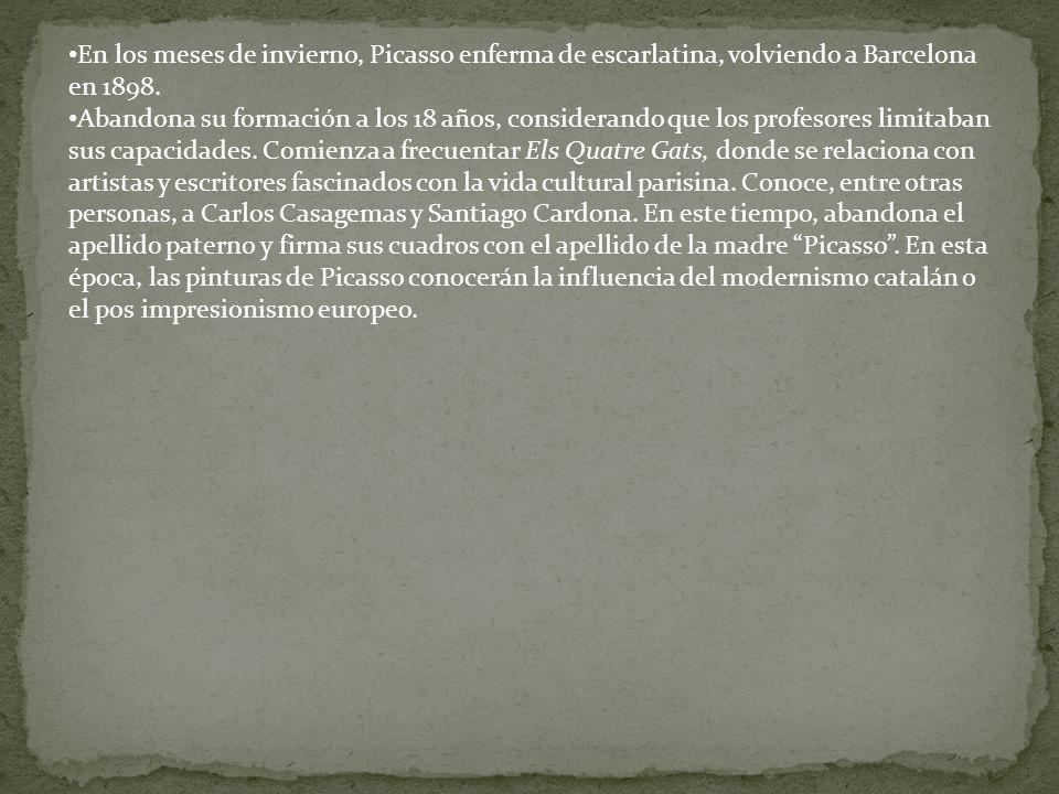 En los meses de invierno, Picasso enferma de escarlatina, volviendo a Barcelona en 1898.
