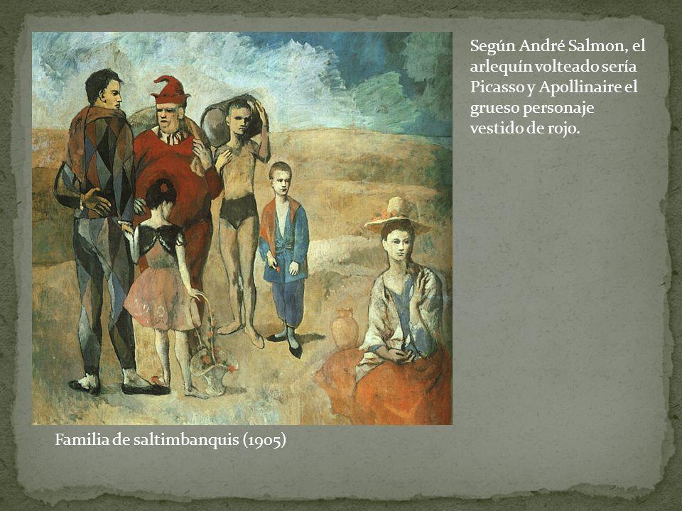Según André Salmon, el arlequín volteado sería Picasso y Apollinaire el grueso personaje vestido de rojo.