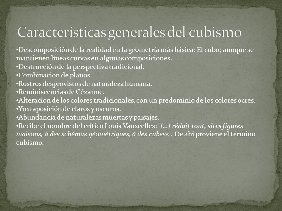 Características generales del cubismo