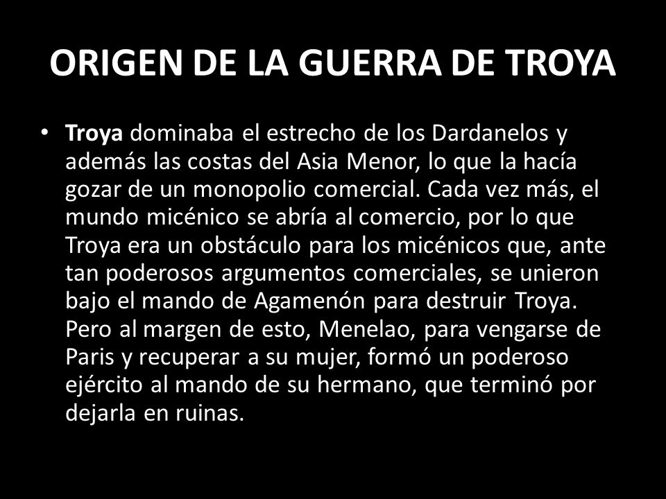 ORIGEN DE LA GUERRA DE TROYA