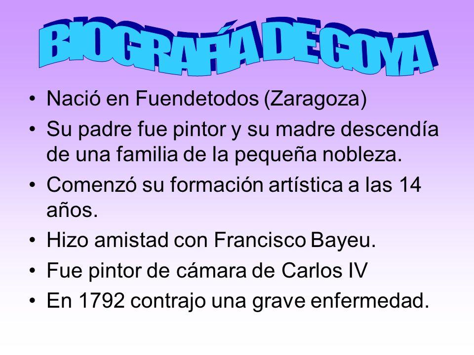 BIOGRAFÍA DE GOYA Nació en Fuendetodos (Zaragoza)