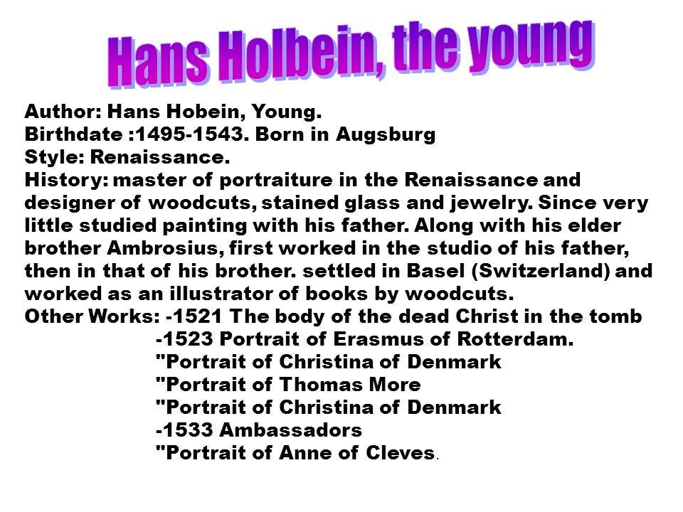 Hans Holbein, the young